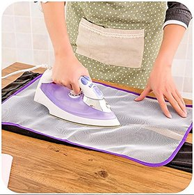 Doberyl Heat Resistant Cloth Protecting Cover for Ironing Mat Protect Clothes from Burning (Transparent, Standard Size)