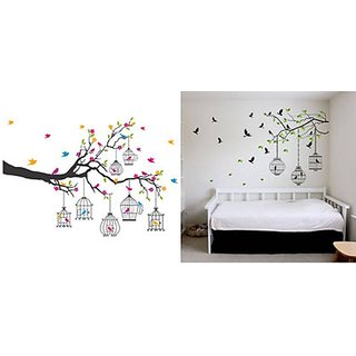 Combo Flower and Birds Wall Sticker (90cmx133cm) - Multicolor and Walltola Wall Stickers Tree Branches with Leaves Birds