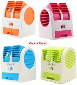 Mini Small Fan Cooler Cooling Portable Desktop Dual Bladeless Air Cooler USB  pack of 1