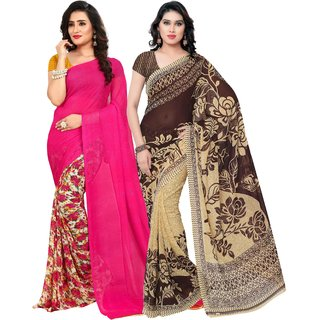 Anand Sarees Georgette Multicolor Saree with Blouse Piece Pack of 2 ( COMBO_1086_3_1436 )