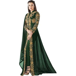 Florence Green Poly Georgette Embroidered Semi Stitched Anarkali Salwar Suit