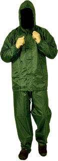FOBHIYA Polyester Waterproof Raincoat Super Soft Durable Bikers Rain Jacket and Pant for Men with Adjustable Hood in Olive Green
