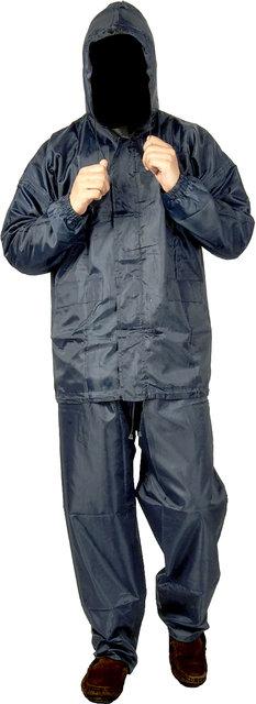 53df474de FOBHIYA Polyester Waterproof Raincoat Super Soft Durable Bikers Rain Jacket  and Pant for Men with Adjustable Hood in Grey