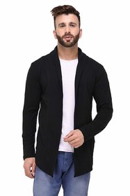 Paddle Up Black Solid Cotton Shrug for Men