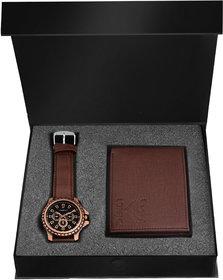 Lorenz Quartz Black Dial Brown Watch and Wallet Combo for Men- CM-1054WL-BRN