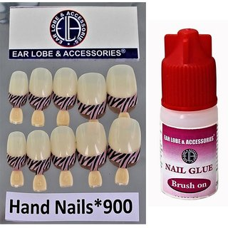 Multicolour Nail Full Covrage 10pcs Hand Nails With Glue No-900
