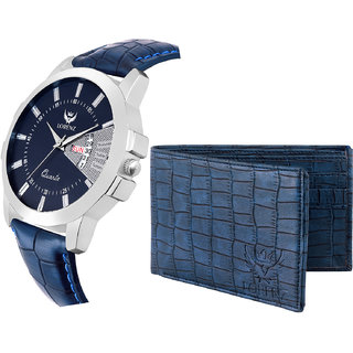 LORENZ CM-203WL-06 Combo of Men's Blue Dial Day & Date Watch and Blue Wallet