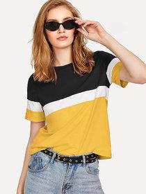 Code Yellow Women's Black White Mustard Color Block Hosiery Tee