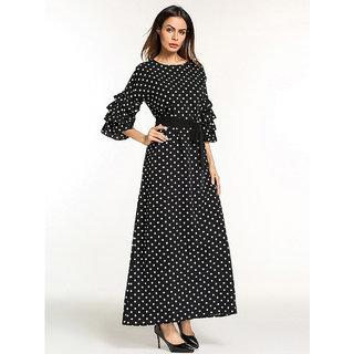 Code Yellow Women's Flounce Sleeve Tie Waist Black Polka Dot Print Longline Dress
