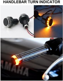 Motorcycle Handlebar Dual Color Turn Signal Grip Bar End LED Plug Strobe Side Indicator Light For - All bike.