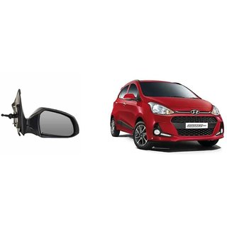 Side door mirror for Hyundai Grand I10 manual with adjustable Knob Type Right (Driver side) in Genuine Shiva