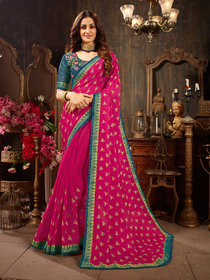 Sutram Printed Pink Silk Georgette Saree with Blouse Piece