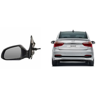 Side door mirror for Hyundai Xcent manual with adjustable Knob Type Left (Passenger side) in Genuine Shiva