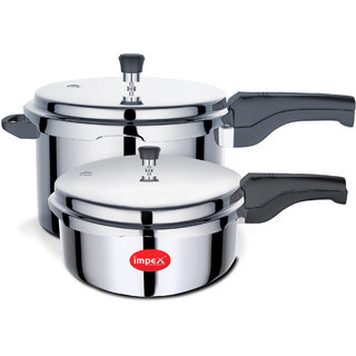 Impex IPC 5P3 Inner Lid Aluminium Pressure Cooker Combo Of 5 Ltr 3 Ltr With Induction Base