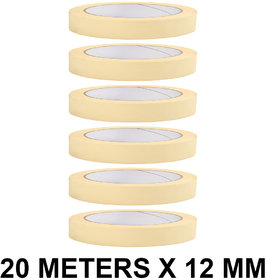 VCR Masking Tape - 20 Meters in Length 12mm / 0.5 Width - 6 Rolls Per Pack