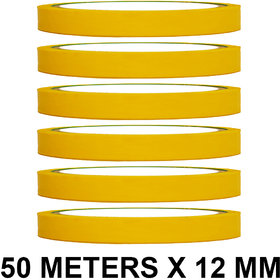 VCR Yellow Color Tape - 50 Meters in Length - 12mm / 0.5 Width - 6 Rolls Per Pack
