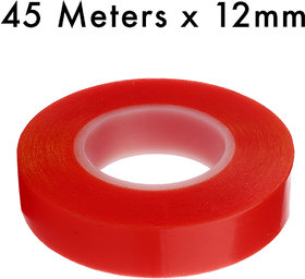 VCR RED Strong Acrylic Adhesive - Double Sided Heat Resistant - Transparent Adhesive Tape - (Polyester Tape) - 45 Meters in Length - 12mm Width - 1 Roll Per Pack