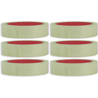 VCR Self Adhesive Transparent Cello Tape - 35 Meters in Length - 24mm / 1 Width - 6 Rolls Per Pack