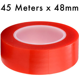 VCR RED Strong Acrylic Adhesive - Double Sided Heat Resistant - Transparent Adhesive Tape - (Polyester Tape) - 45 Meters in Length - 48mm Width - 1 Roll Per Pack
