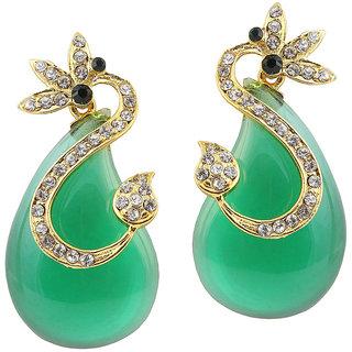 JewelMaze Green Austrian Stone Gold Plated Dangler Earrings