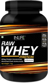 INLIFE 100 Raw Whey Protein Powder Concentrate Instantized 1kg,(Unflavoured)