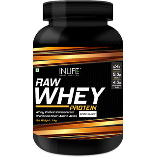INLIFE 100 Raw Whey Protein Powder Concentrate Instantized 1kg (Unflavoured)