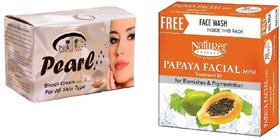 Nature's Essence Papaya Facial Mini Treatment Kit for Blemishes Pigmentation 52g + 65ml, Pink Root Pearl Bleach 250g