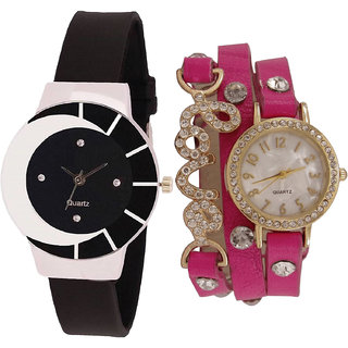 Neutron Latest Luxury  Analogue Black And Pink Color Girls And Women Watch - G8-G204 (Combo Of  2 )