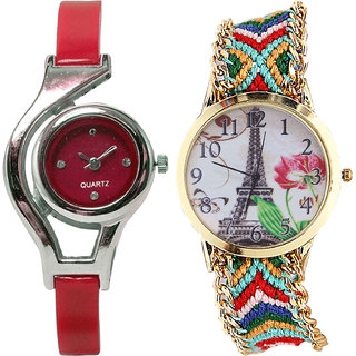 Neutron Brand New Unique World Cup And Paris Eiffel Tower Analogue Red And Multi Color Color Girls And Women Watch - G5-G145 (Combo Of  2 )