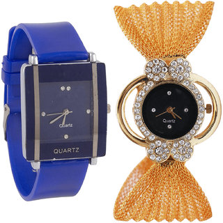 Neutron New Quartz  Analogue Blue And Gold Color Girls And Women Watch - G13-G173 (Combo Of  2 )