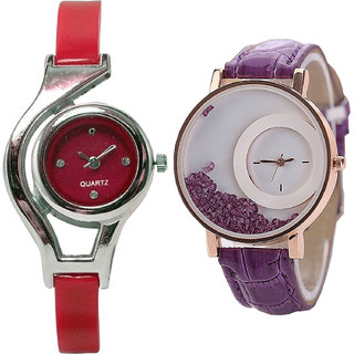 Neutron Contemporary Unique World Cup And Movable Dimond Analogue Red And Purple Color Girls And Women Watch - G5-G181 (Combo Of  2 )