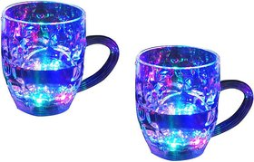 De-Ultimate (Pack oF 2) Beer Mug/Cup With Magic Inductive Rainbow Color 7 Led Flashing/Changing Liquid Activated Lights