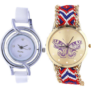 Neutron Best Exclusive  Analogue White And Multi Color Color Girls And Women Watch - G50-G134 (Combo Of  2 )