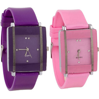Neutron Latest Exclusive  Analogue Purple And Pink Color Girls And Women Watch - G15-G14 (Combo Of  2 )