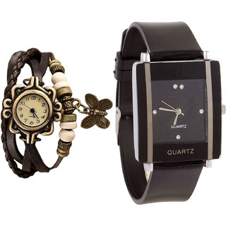 Neutron Brand New Exclusive Butterfly Analogue Brown And Black Color Girls And Women Watch - G61-G12 (Combo Of  2 )