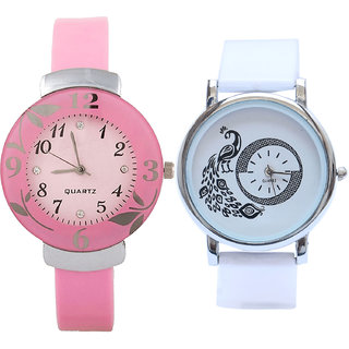 Neutron Latest Quartz Flower And Peacock Analogue Pink And White Color Girls And Women Watch - G26-G23 (Combo Of  2 )