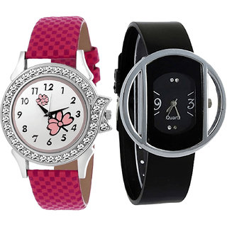 Neutron New Luxury Flower Analogue Pink And Black Color Girls And Women Watch - G128-G35 (Combo Of  2 )