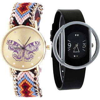 Neutron Latest Rich Butterfly Analogue Multi Color And Black Color Girls And Women Watch - G138-G35 (Combo Of  2 )