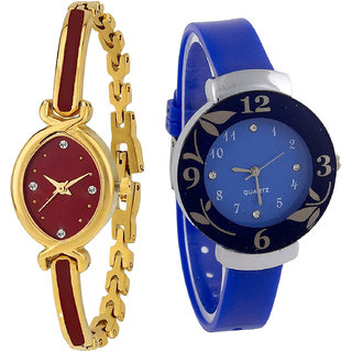 Neutron New Exclusive  Analogue Gold And Blue Color Girls And Women Watch - G122-G25 (Combo Of  2 )