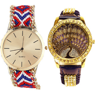 Neutron New Tread  Analogue Multi Color And Blue Color Girls And Women Watch - G168-G236 (Combo Of  2 )