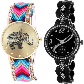 Neutron Modish Stylish Elephant Analogue Multi Color And Black Color Girls And Women Watch - G154-G222 (Combo Of  2 )