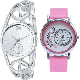 Neutron Best Present  Analogue Silver And Pink Color Girls And Women Watch - G213-G20 (Combo Of  2 )