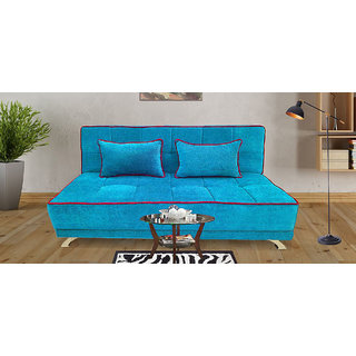 Houzzcraft Alto sofa cum bed turquoise blue