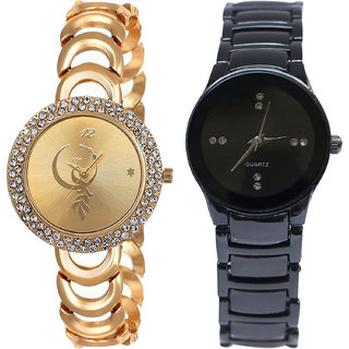 Neutron Treading Chronograph Peacock Analogue Gold And Black Color Girls And Women Watch - G225-G206 (Combo Of  2 )