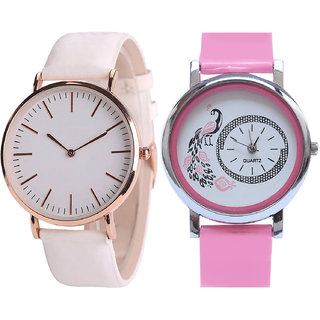 Neutron Modish Unique  Analogue White And Pink Color Girls And Women Watch - G193-G20 (Combo Of  2 )