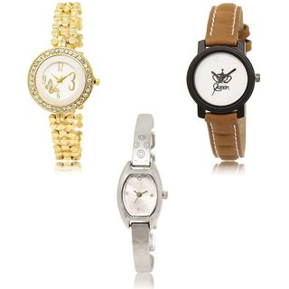 Neutron Modish Collegian Butterfly And Queen Analogue Gold,Brown And Silver Color Girls And Women Watch - Gl203-Gl209-Gl219 (Combo Of  3 )