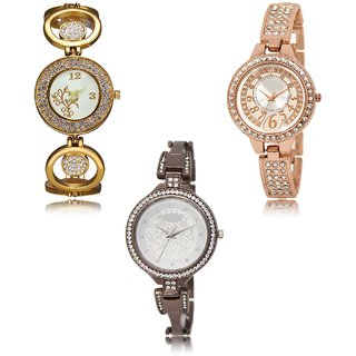 Neutron New Present Flower Analogue Gold,Rose Gold And Black Color Girls And Women Watch - Gl204-Gl216-Gl236 (Combo Of  3 )
