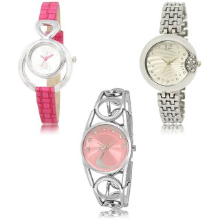 Neutron Modern Present  Analogue Pink,Silver And White Color Girls And Women Watch - Gl205-Gl227-Gl233 (Combo Of  3 )