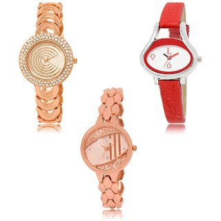 Neutron Brand New Collegian  Analogue Gold And Red Color Girls And Women Watch - Gl202-Gl206-Gl222 (Combo Of  3 )