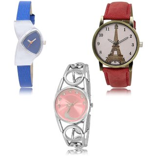 Neutron New Diwali  Analogue Blue,Red And White Color Girls And Women Watch - Gl208-Gl230-Gl233 (Combo Of  3 )